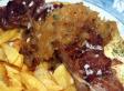 Solomillo de cerdo ibérico con cebolla confitada y queso Lazana
